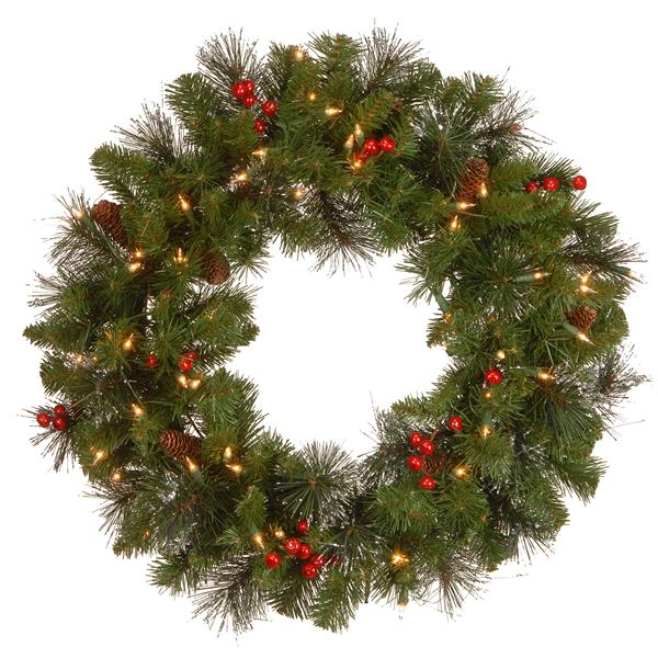 "National Tree Co. Crestwood Spruce Wreath with Clear Lights -24""- Green"