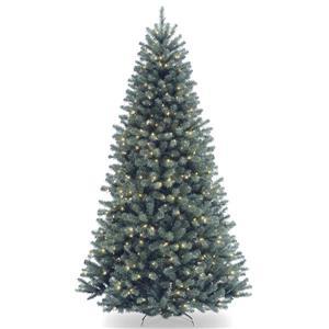 Épinette de Noël avec lumières claires North Valley(MD), 7,5 pi, bleu