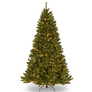 North Valley® Spruce Christmas Tree with LED Lights - 7.5-ft - Green