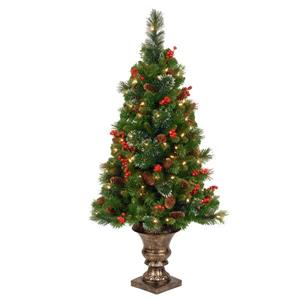 Crestwood Spruce Entrance Christmas Tree with Clear Lights - 4-ft