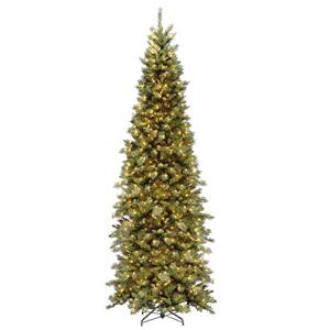 Tiffany Fir Slim Christmas Tree with Clear Lights - 7.5-ft. - Green