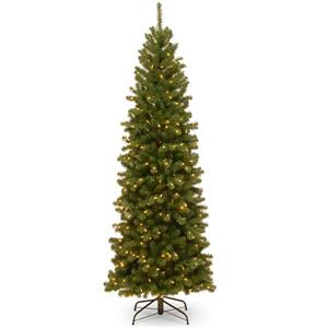 North Valley® Spruce Pencil Christmas Tree/Clear Lights - 6.5-ft - Green
