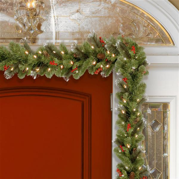 National Tree Co. Crestwood Spruce Garland with Clear Lights - 9' - Green