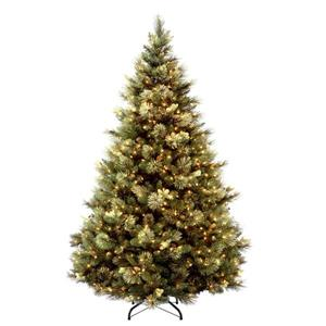 Carolina Christmas Pine Tree with Clear Lights - 6.5-ft - Green