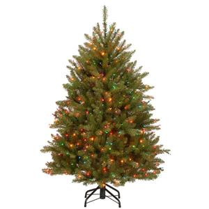 Dunhill® Fir Christmas Tree with Multicoloured Lights - 4.5-ft - Green