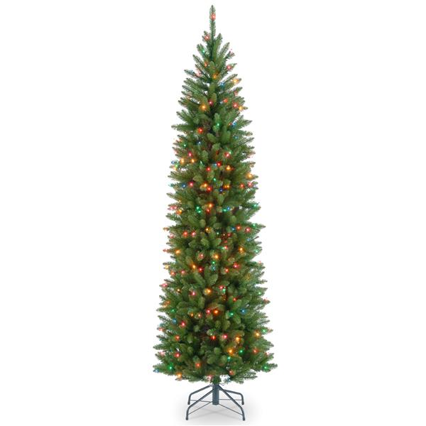 Kingswood® Fir Pencil Christmas Tree with Multicoloured Lights - 7.5-ft