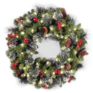 National Tree Co. Crestwood Spruce Wreath with White LED Lights - 24""
