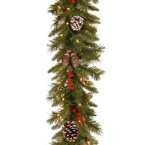 National Tree Co. Frosted Berry Garland with Clear Lights - 9' - Green