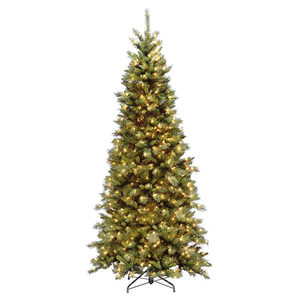 Tiffany Fir Slim Christmas Tree with Clear Lights - 7.5 ft. - Green