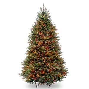 Dunhill Fir Christmas Tree with Multicoloured Lights - 6.5-ft - Green