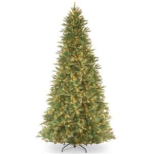 Tiffany Fir Slim Christmas Tree with Clear Lights - 9-ft - Green