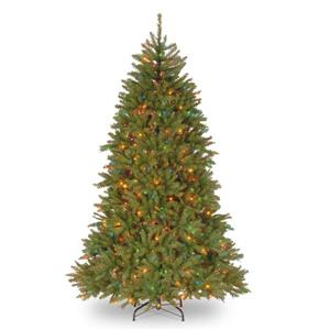 Dunhill® Fir Christmas Tree with Multicoloured Lights - 7.5-ft - Green
