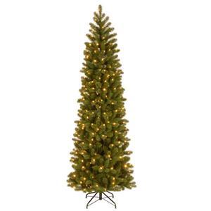 National Tree Co. Downswept Douglas Pencil Fir Tree with LED Lights - 7.5-ft