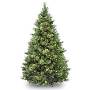 Carolina Christmas Pine Tree with Clear Lights - 9-ft - Green