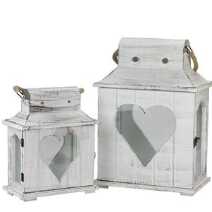 Northlight Candle Holder Lanterns with Heart Cut-Outs - Set of 2 - White