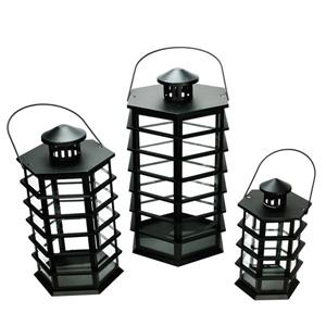 Northlight Modern Glass Pillar Candle Lanterns - Set of 3 - Black
