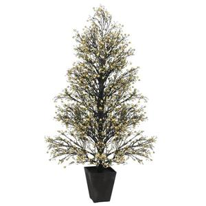 Allstate Floral & Craft Potted Glittered Berry Christmas Tree - 51-in Gold/Black
