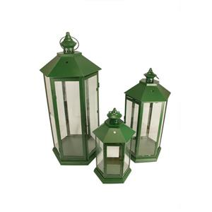 Northlight Traditional Candle Holder Lantern Set - 3 Pieces - Green
