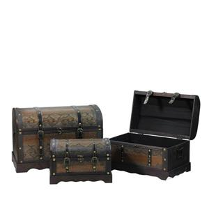 Northlight Faux Wood and Snakeskin Storage Box Set - 3 Pieces - Antique Brown