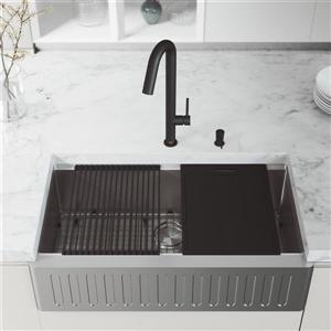 Évier de cuisine en acier inoxydable Oxford VIGO de 36 po, robinet Oakhurst DEL avec distributeur de savon de 10 oz