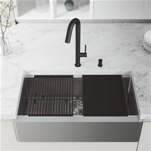 Évier acier inoxydable Oxford 36 po, robinet Oakhurst noir, distributeur savon