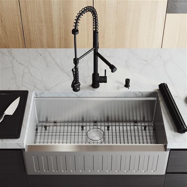 "en-CA 36"" Oxford Slotted Stainless Steel Sink with Zurich Faucet"