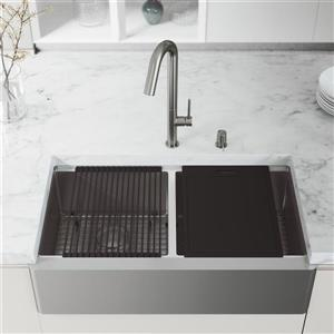 VIGO Oxford Flat Stainless Steel 36-in Double Sink - Chrome Oakhurst Faucet and Soap Dispenser