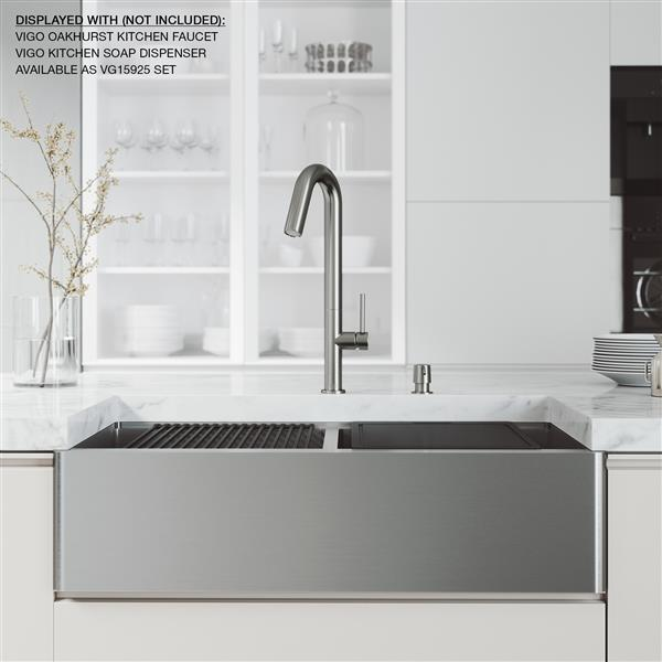 en-CA Oxford Flat Stainless Steel Double Bowl Sink with Accessories - 36-in