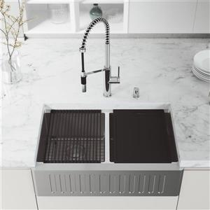 VIGO Oxford Slotted Stainless Steel 33-in Sink - Livingston Faucet with Soap Dispenser