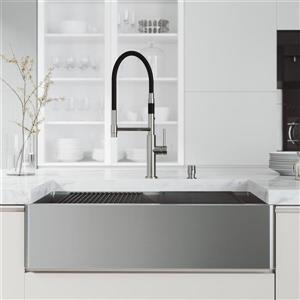 Évier de cuisine acier inoxydable Oxford 36 po, robinet noir et chrome Norwood, distributeur de savon chrome