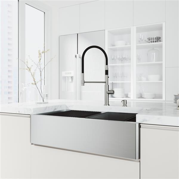en-CA Oxford Flat Stainless Steel Sink 36-in - Norwood Black and Chrome Faucet - Chrome Soap Dispenser