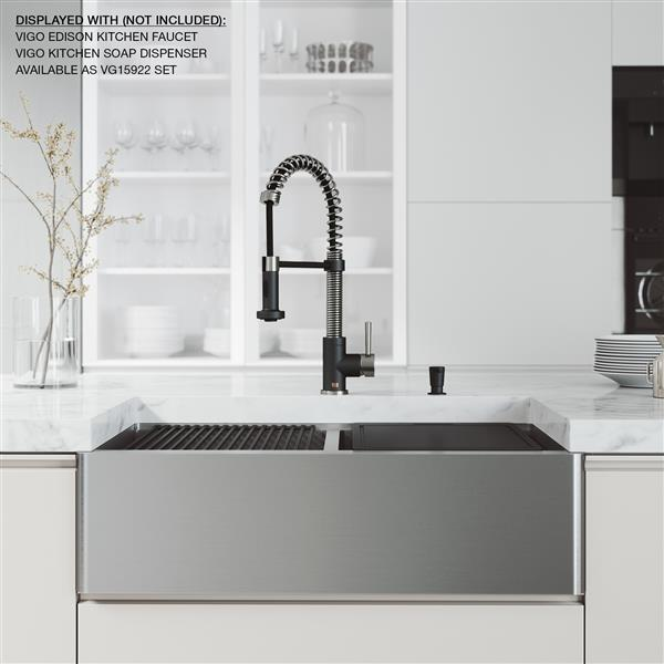 en-CA Oxford Flat Stainless Steel Double Bowl Sink with accessories - 33-in