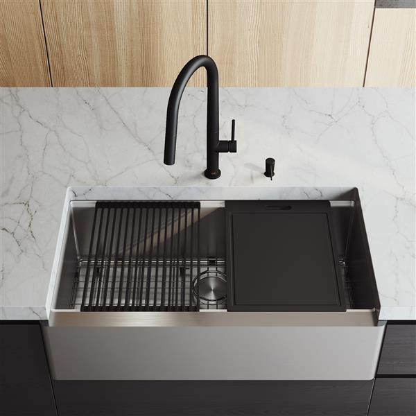 VIGO Oxford Flat Stainless Steel Single Bowl Sink - Accessories - 36-in