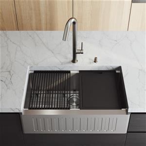 VIGO Oxford Single Bowl Kitchen Sink 33-in - Chrome LED faucet and Soap Dispenser