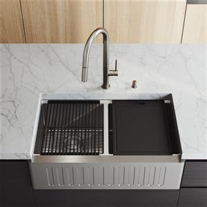 """en-CA 33"""" Oxford Slotted Stainless Steel Double Bowl Sink"""