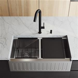 Évier de cuisine acier inoxydable Oxford 36 po robinet noir Oakhurst et distributeur de savon noir