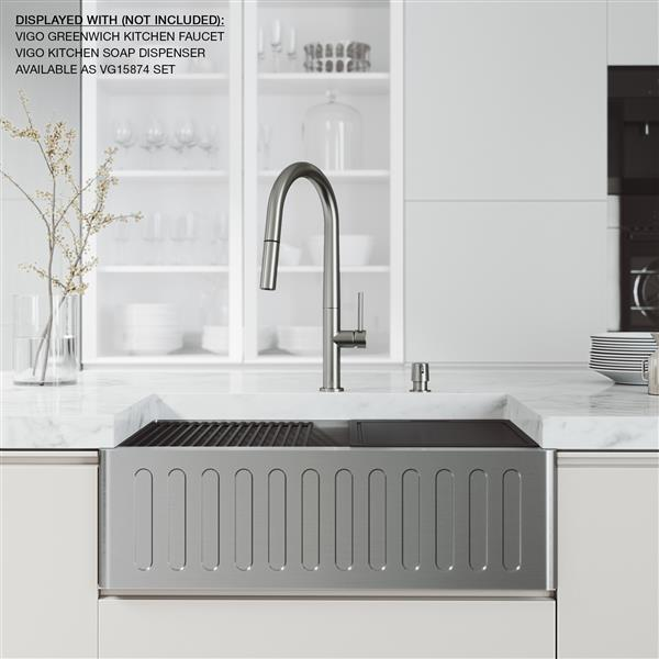 VIGO Oxford Slotted Stainless Steel Single Bowl Sink - 30-in