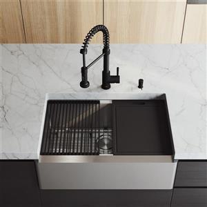 Évier de cuisine acier inoxydable Oxford de VIGO 30 po, robinet Edison noir avec tuyau extensible