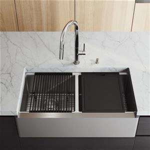 Évier de cuisine acier inoxydable Oxford 36 po, robinet Greenwich chrome, distributeur de savon