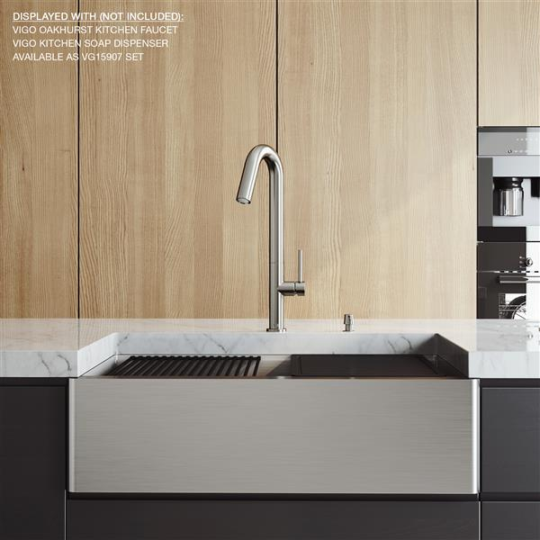 en-CA Oxford Flat Stainless Steel Single Bowl Sink with accessories - 33-in