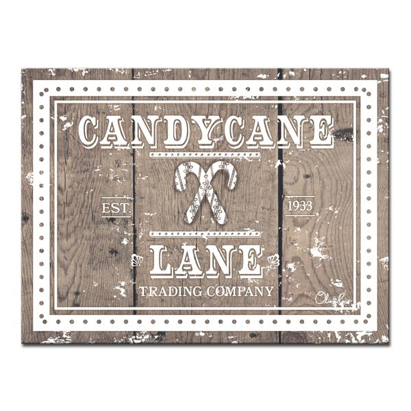 Ready2HangArt Wall Art Christmas Candycane Lane Canvas 30-in - Brown