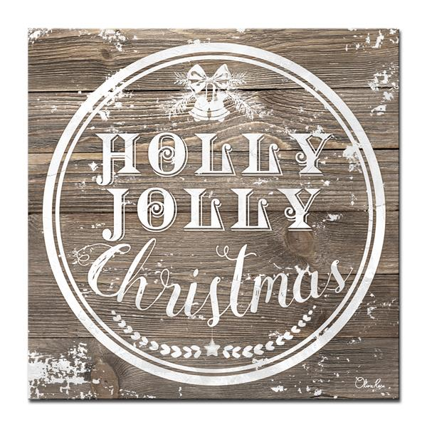 Ready2HangArt Wall Art Christmas Holly Joll Canvas 20-in x 20-in - Brown