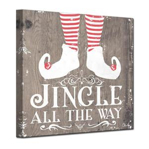 Ready2HangArt Wall Art Jingle all the Way Canvas 12-in x 12-in - Brown