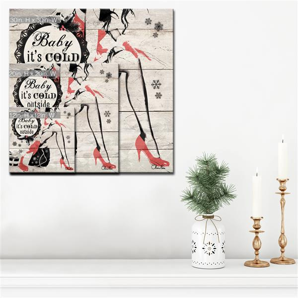 Ready2HangArt Wall Art Baby it's Cold Outside Canvas 12-in x 12-in- Brown