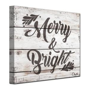 Ready2HangArt Wall Art Christmas Merry & Bright Canvas 20-in - Brown