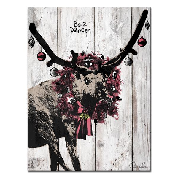 Ready2HangArt Wall Art Christmas Dancer Canvas 12-in x 16-in - Brown