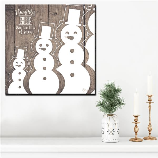 Ready2HangArt Wall Art Christmas Snowman Canvas 12-in x 12-in - Brown