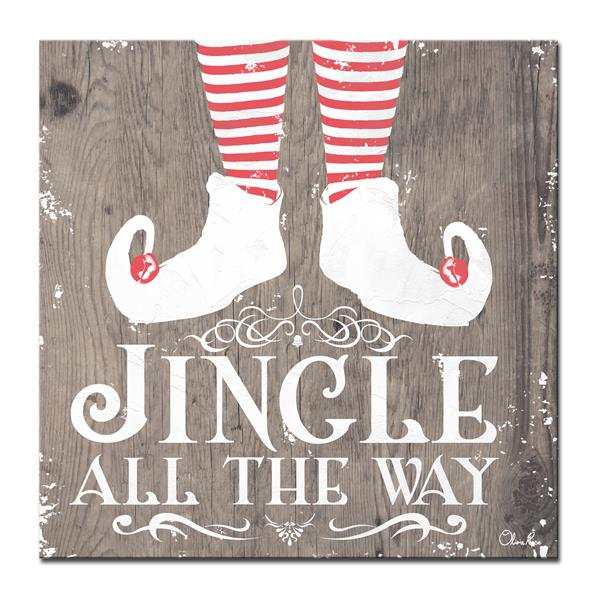 Ready2HangArt Wall Art Jingle all the Way Canvas 20-in x 20-in - Brown