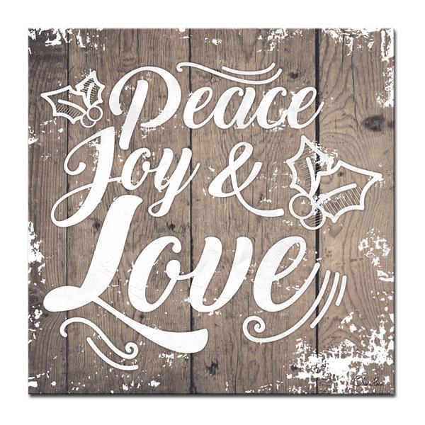 Ready2HangArt Wall Art Peace, Joy & Love Canvas 20-in x 20-in - Brown