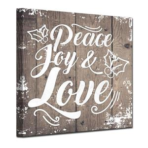 Ready2HangArt Wall Art Peace, Joy & Love Canvas 20-in x 20-in - Brown